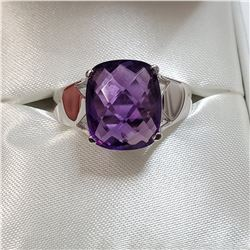 RHODIUM PLATED STERLING SILVER AMETHYST(6CT) RING