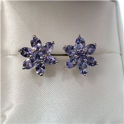 RHODIUM PLATED STERLING.SILVER TANZANITE(2CT) EARRINGS