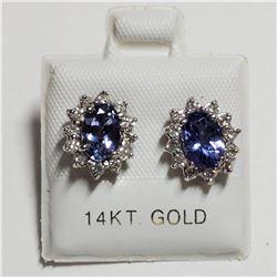 14K WHITE GOLD TANZANITE(2CT) DIAMOND(0.32CT) EARRINGS