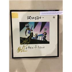 """RUSH SIGNED AND FRAMED """"A SHOW OF HANDS"""" ALBUM, SIGNED BY GEDDY LEE AND ALEX LIFESON WITH"""