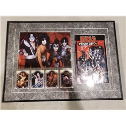 KISS SIGNED AND PROFESSIONALLY FRAMED DISPLAY, SIGNED BY ORIGINAL MEMBERS GENE SIMMONS, ACE