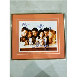 FRIENDS CAST SIGNED AND PROFESSIONALLY FRAMED 10 X 8 PHOTOGRAPH, SIGNED BY JENNIFER ANISTON,