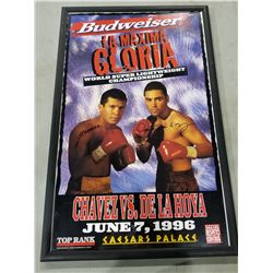"""BOXING LEGENDS SIGNED FIGHT POSTER """"ULTIMATE GLORY,"""" SIGNED BY JULIO CESAR CHAVEZ AND OSCAR DE"""