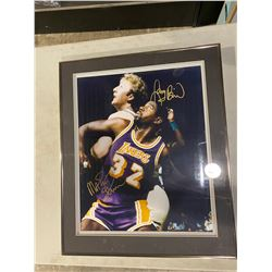 BASKETBALL LEGENDS MAGIC JOHNSON AND LARRY BIRD SIGNED AND PROFESSIONALLY FRAMED 16 X 20 PHOTOGRAPH