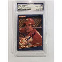 PETE ROSE SIGNED 1986 DONRUSS CARD, PSA/DNA CERTIFIED