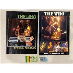 THE WHO TOUR PROGRAMS (2) - 1980 TOUR PROGRAM WITH APRIL 14, 1980 VANCOUVER PACIFIC COLISEUM TICKET