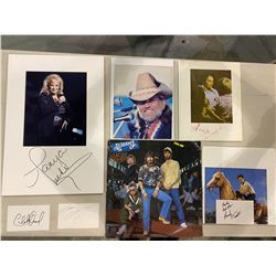 COUNTRY LEGENDS AUTOGRAPHS - WILLIE NELSON SIGNED PICTURE, TANYA TUCKER SIGNED DISPLAY, MERLE