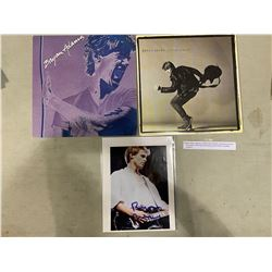 BRYAN ADAMS SIGNED 8 X 10 PHOTO WITH CERTIFICATE OF AUTHENTICITY AND HIS FIRST 2 ALBUMS (SELF-