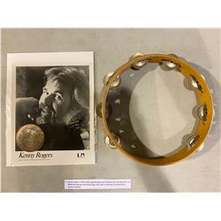 KENNY ROGERS (1938-2020) SIGNED STAGE-USED TAMBOURINE AND SIGNED 8 X 10 B&W PHOTOGRAPH WITH