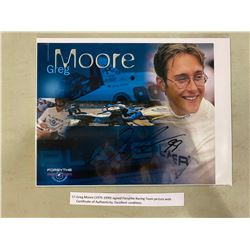 GREG MOORE (1975-1999) SIGNED FORSYTHE RACING TEAM PICTURE WITH CERTIFICATE OF AUTHENTICITY.