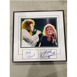 NAOMI & WYNONNA JUDD SIGNED AND PROFESSIONALLY FRAMED DISPLAY WITH CERTIFICATE OF AUTHENTICITY.