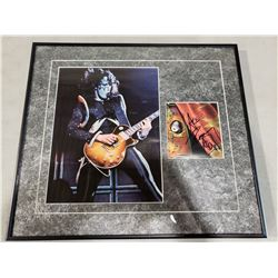 "ACE ""SPACEMAN"" FREHLEY (KISS) SIGNED AND PROFESSIONALLY FRAMED DISPLAY WITH CERTIFICATE OF"