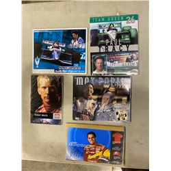 RACE CAR DRIVER AUTOGRAPHS (5) - INCLUDES PICTURES SIGNED BY MAX PAPIS, JUAN MONTOYA, PATRICK