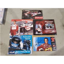 RACE CAR DRIVER AUTOGRAPHS (5) - INCLUDES PICTURES SIGNED BY JIMMY VASSER, TORA TAKAGI, ALEXANDRE