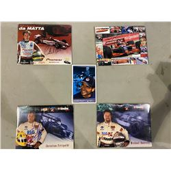 RACE CAR DRIVER AUTOGRAPHS (5) - INCLUDES PICTURES SIGNED BY MICHAEL ANDRETTI, TONY KANAAN,