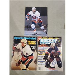NEW YORK ISLANDERS AUTOGRAPHS - DENIS POTVIN SIGNED MAGAZINE, BILLY SMITH SIGNED MAGAZINE AND