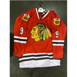 BOBBY HULL SIGNED CHICAGO BLACKHAWKS JERSEY WITH CERTIFICATE OF AUTHENTICITY. THE GOLDEN JET.