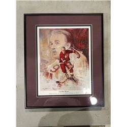 GORDIE HOWE (1928-2016) SIGNED AND PROFESSIONALLY FRAMED LIMITED EDITION LITHOGRAPH WITH