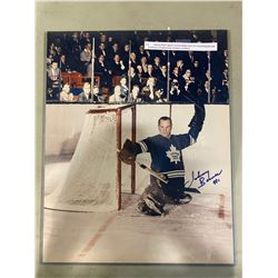 JOHNNY BOWER SIGNED TORONTO MAPLE LEAFS 16 X 20 PHOTOGRAPH WITH CERTIFICATE OF AUTHENTICITY.