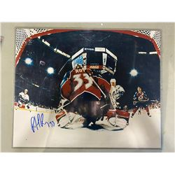 PATRICK ROY COLORADO AVALANCHE SIGNED 20 X 16 PHOTOGRAPH WITH CERTIFICATE OF AUTHENTICITY.
