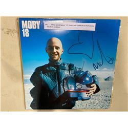 "MOBY SIGNED ""19"" POSTER WITH CERTIFICATE OF AUTHENTICITY. EXCELLENT CONDITION"