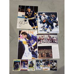 ST. LOUIS BLUES AUTOGRAPHS (10 ITEMS) - INCLUDING ITEMS SIGNED BY BRETT HULL, PIERRE TURGEON, PAVOL