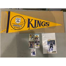 LOS ANGELES KINGS AUTOGRAPHS (10 ITEMS) - INCLUDING VINTAGE KINGS PENNANT SIGNED BY MARCEL DIONNE,