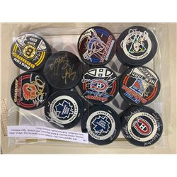 NHL SIGNED PUCKS (10) - INCLUDES PUCKS SIGNED BY GUY LAFLEUR, ALLAN STANLEY, KENNY REARDON & BUTCH