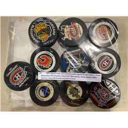 NHL SIGNED PUCKS (10) INCLUDES PUCKS SIGNED BY GUY LAFLEUR, FRANK MAHOVLICH, PHIL HOUSLEY, GLENN