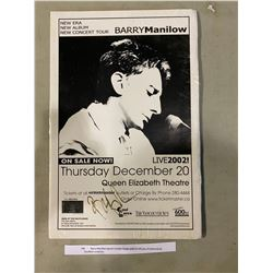 BARRY MANILOW SIGNED CONCERT POSTER WITH CERTIFICATE OF AUTHENTICITY. EXCELLENT CONDITION