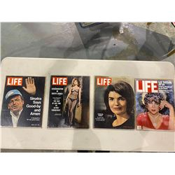 7 LIFE MAGAZINES - MAY 29, 1964 JACQUELINE KENNEDY COVER, SEPTEMBER 16, 1966 SOPHIA LOREN COVER,