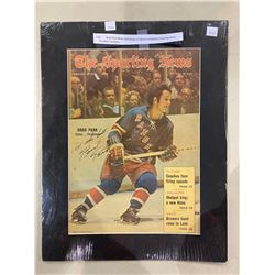BRAD PARK (NEW YORK RANGERS) SIGNED AND MATTED SPORTING NEWS. EXCELLENT CONDITION
