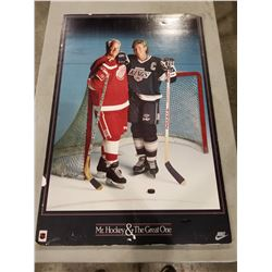 "GORDIE HOWE & WAYNE GRETZKY ""MR. HOCKEY & THE GREAT ONE"" NIKE HARD MOUNTED POSTER AND WHA"