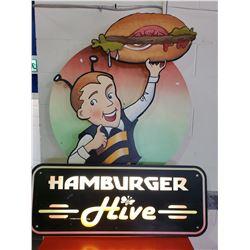 LIGHT UP HAMBURGER HIVE SIGN
