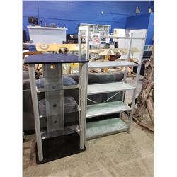 METAL FRAME WITH GLASS SHELVES & ENTERTAINMENT UNIT