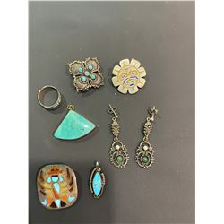 BAG OF ASSORTED TURQUOISE & NATIVE JEWELRY