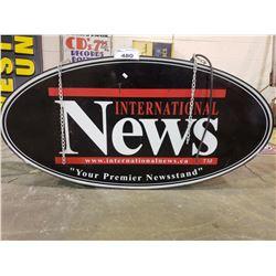 INTERNATIONAL NEWS HANGING SIGN