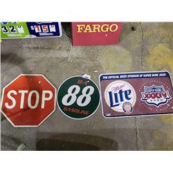 MILLER LITE SUPER BOWL, B-A 88 GASOLINE, & STOP SIGN