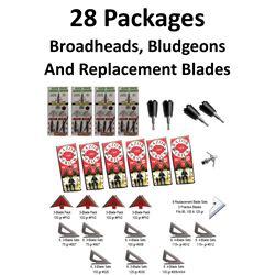 24 x Broadheads/Repl. Blades & 4 Bludgeons