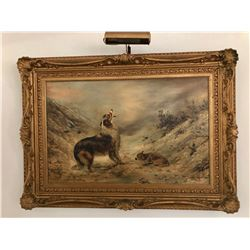 E. ENZUL ANTIQUE OIL PANTING ON CANVAS WITH QUALITY FRAME