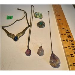 6 PCS OF POLISHED STONE JEWELRY