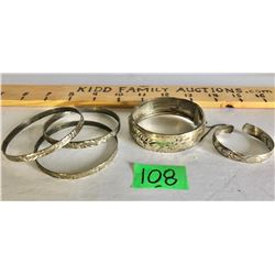 5 SILVER BANGLES - 1 X STERLING
