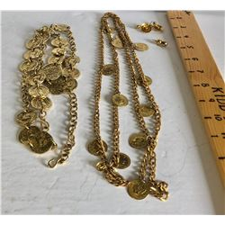2 X COIN INSPIRED LONG CHAINS & 2 X GOLD LOOK EARRINGS