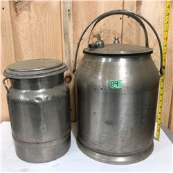 SET OF 2 STAINLESS CREAM / MILK CANS