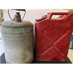 2 VINTAGE METAL FUEL CANS
