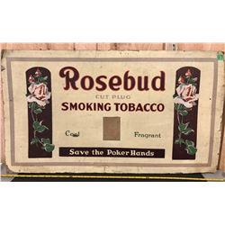 ROSEBUD TOBACCO AD ON CARDBOARD