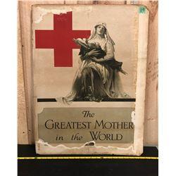WAR TIME RED CROSS AD ON CARDBOARD