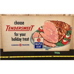 VINTAGE MAPLE FEED FOODS CARDBOARD AD - 1958