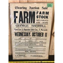 1922 DERTINGER FARM AUCTION POSTER - NORWICH