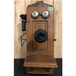 ANTIQUE WOOD WALL PHONE WITH WORKING PARTS